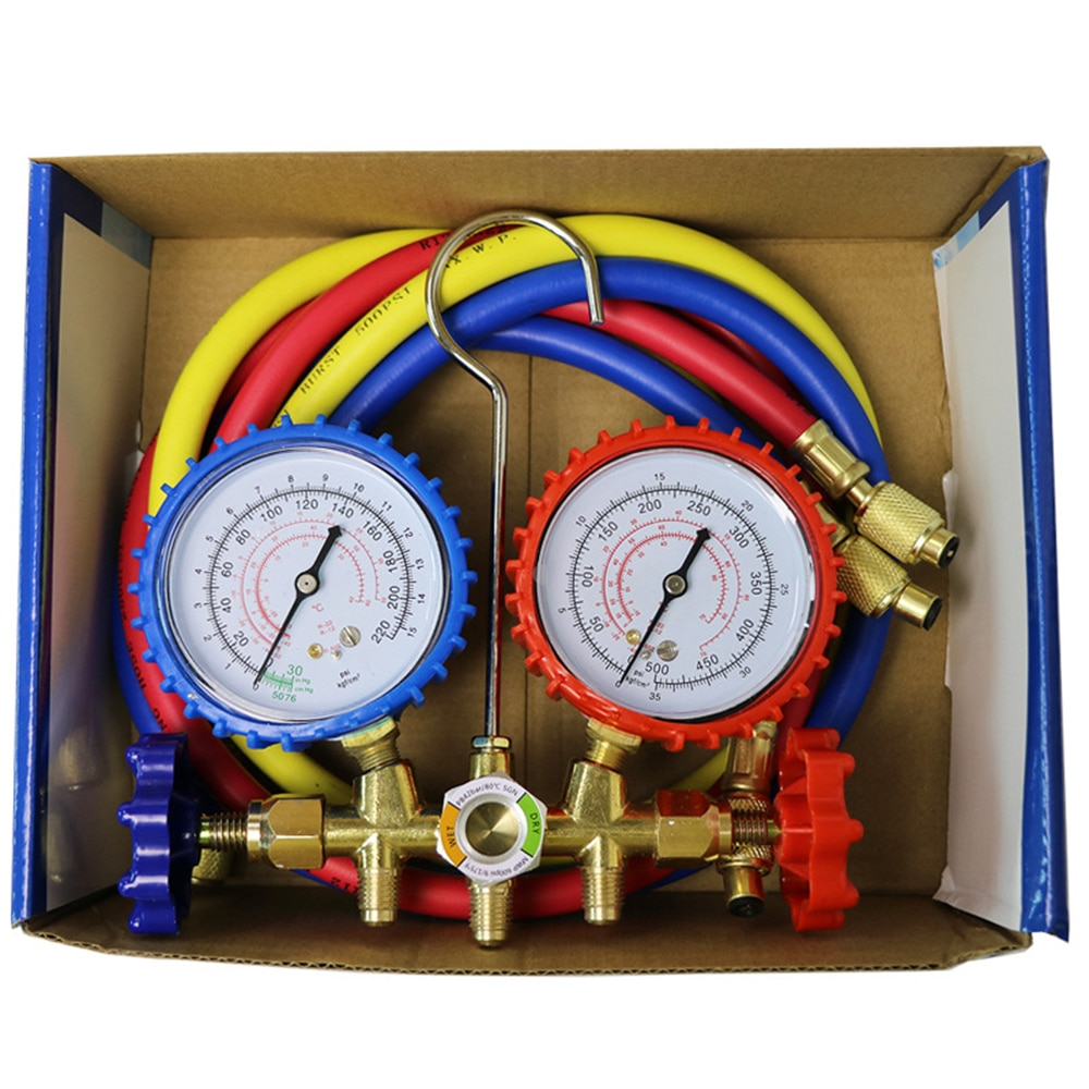 practical r134a to r12 r22 refrigerant recharge hose pipe Refrigerant Manifold Gauge Air Condition Refrigeration Set Air Conditioning Tools for R12 R22 R502 R134A R404A R410A