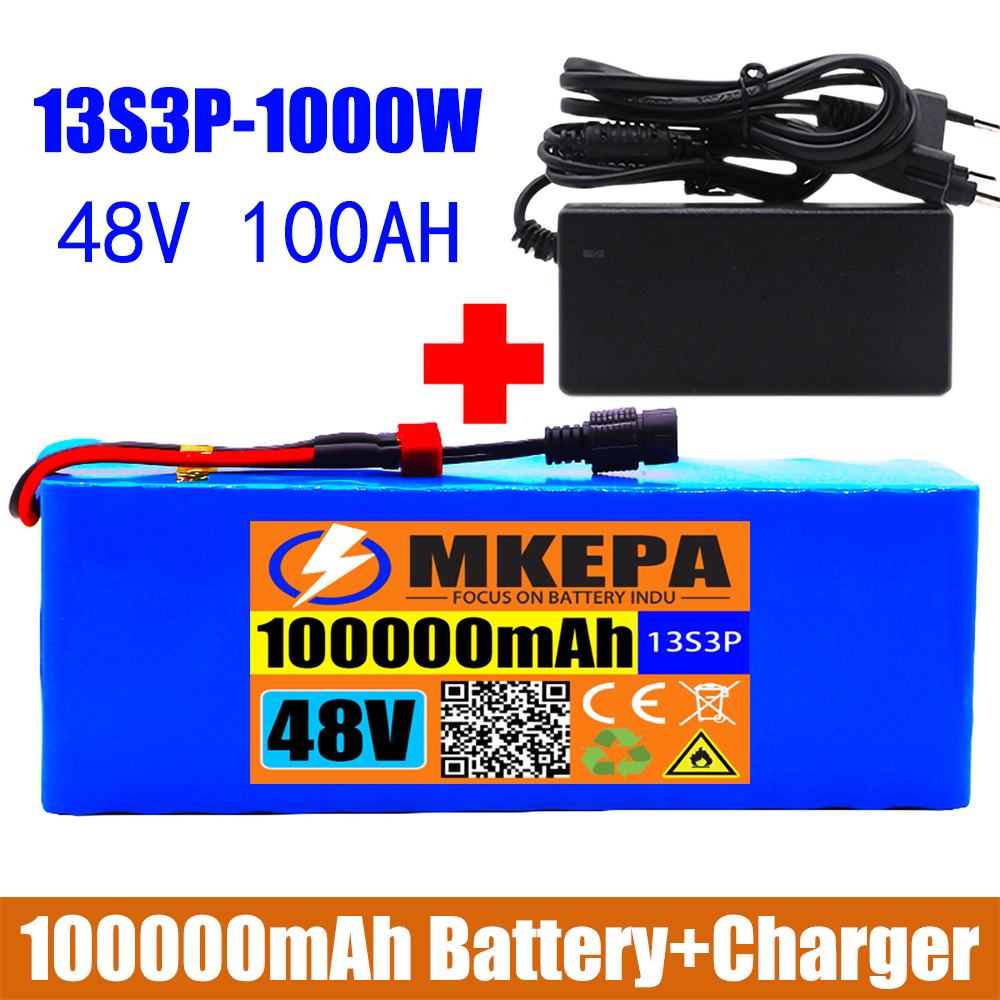 13S3P 48V 100000mAh ليثيوم أيون بطارية حزمة 100Ah 1000W ل 54.6V E-دراجة هوائية كهربائية سكوتر مع BMS + 2A شاحن
