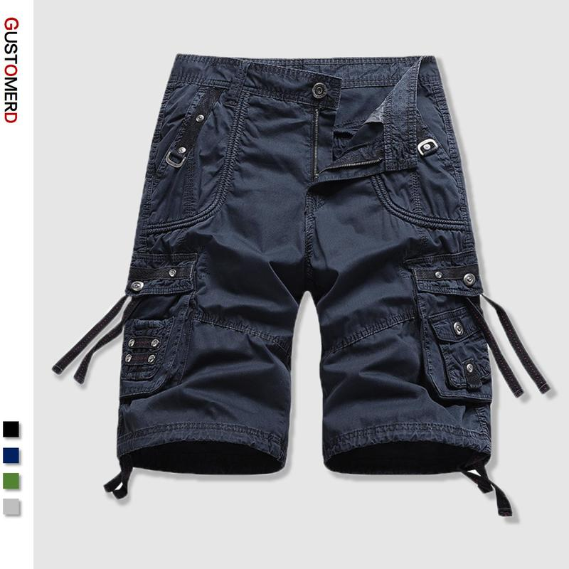 2021 Summer Men's Shorts High-quality Military Shorts Mens Solid Color 100% Cotton Multi-pocket Loos