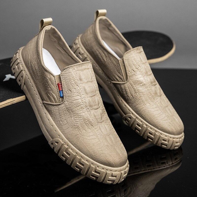 실크 아이스 남성 캔버스 신발 슬립 온 새로운 스케이트 보드 신발 로퍼 통기성 악어 패턴 캐주얼 신발, 2021 여름