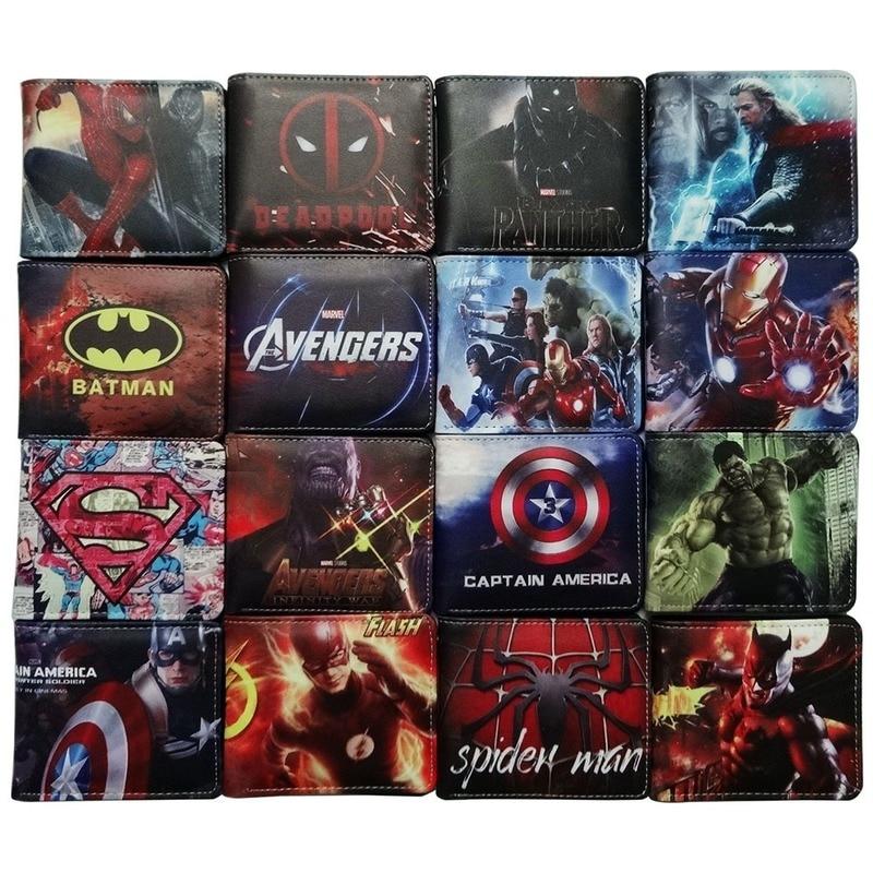 Disney Marvel Anime Wallet Avengers Spiderman Iron Man Flash Short Two Folding PU Boy Wallet Birthday Gift 17cm height polyresin iron man with luminous base boy s gift