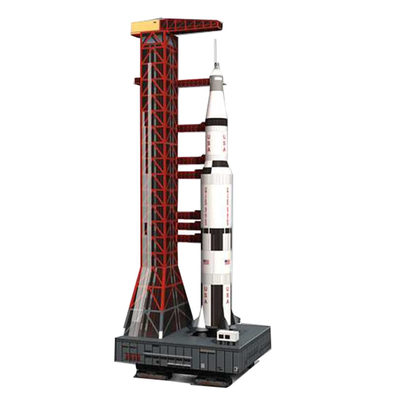 1300 Saturn 5 Launch vehículo Launch Pad DIY 3D Tarjeta de papel modelo Building Sets juguetes de construcción juguetes educativos modelo militar