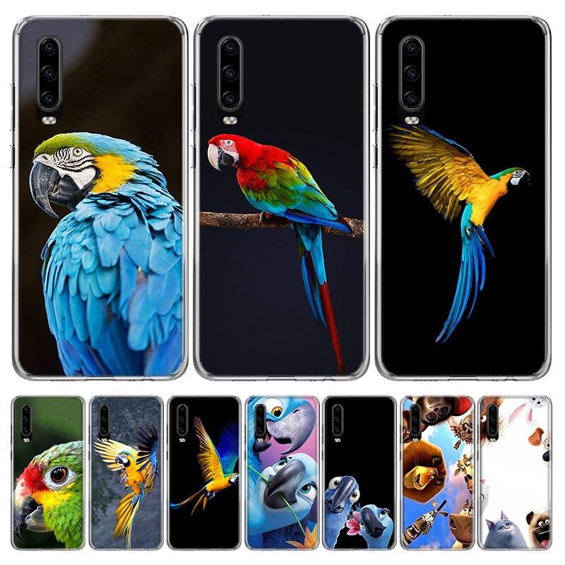 Lustige Papagei Blau Farbe Telefon Fall für Huawei P40 P30 P20 Mate 30 20 10 Pro P10 Lite P Smart Z + 2019 Geschenk Coque Abdeckung Capa