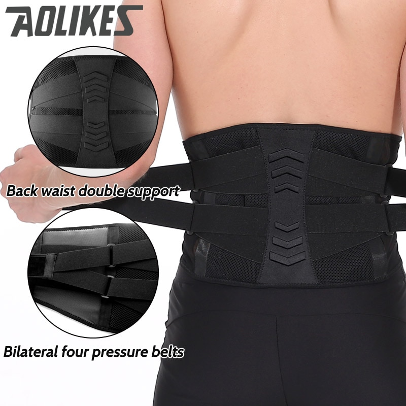AOLIKES cintura entrenador de Fitness de levantamiento de pesas de apoyo 4 Springs apoyo cinturón elástico ajustable hombres mujeres recuperación Lumbar Brace