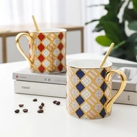 bone china large capacity mug with nordic spoon personalized ceramic creative couple a pair of coffee cup gift box