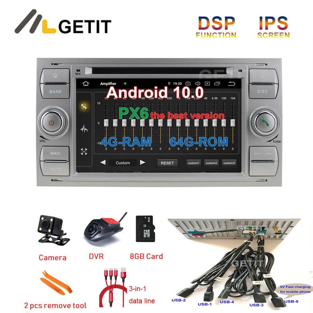 5-USB DSP Android 10 reproductor de DVD de coche Auto Radio GPS para Ford Mondeo Focus tránsito C-MAX S-MAX Fiesta ESTÉREO