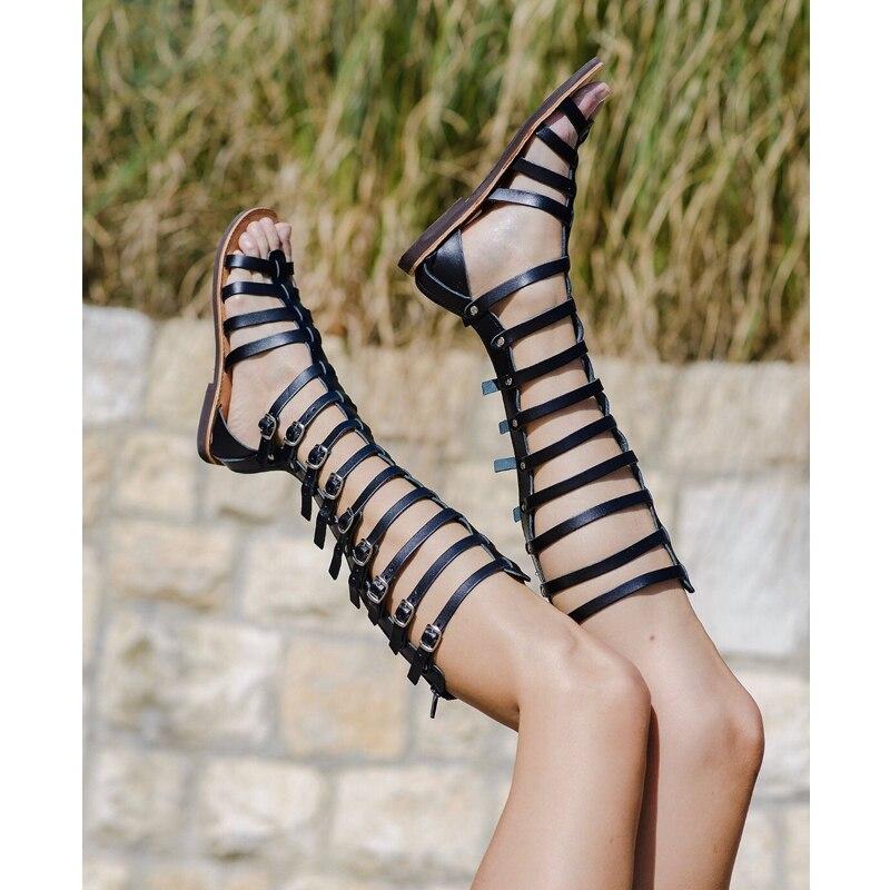 Nano jiu sandálias femininas peep-toe stiletto, sandálias planas com renda cruzada e alça romanas, verão 2020 sandália altas sexy
