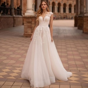 Elegant A-Line Wedding Dresses 2021 Cap Sleeve Sheer Scoop Neck Lace Appliques Button Tulle Bridal Gown Beads Belt Sweep Train
