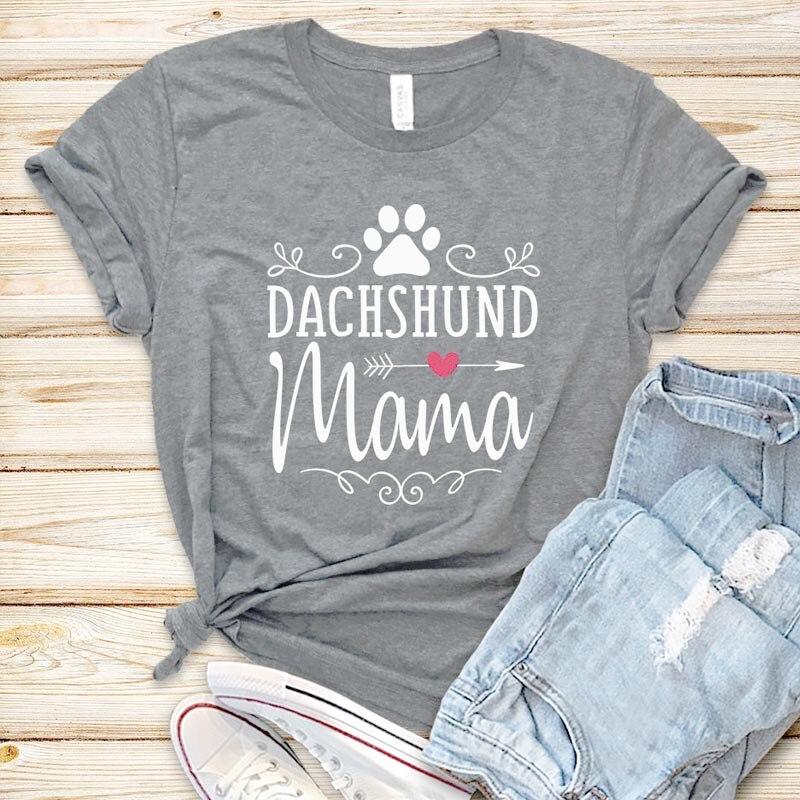 Camiseta para mamá de Dachshund, Camiseta con estampado estético de pata de perro, camiseta con gráfico de flecha en forma de corazón para mujeres, camisetas casuales para niñas, a la moda Tops de algodón, triangulación de envíos