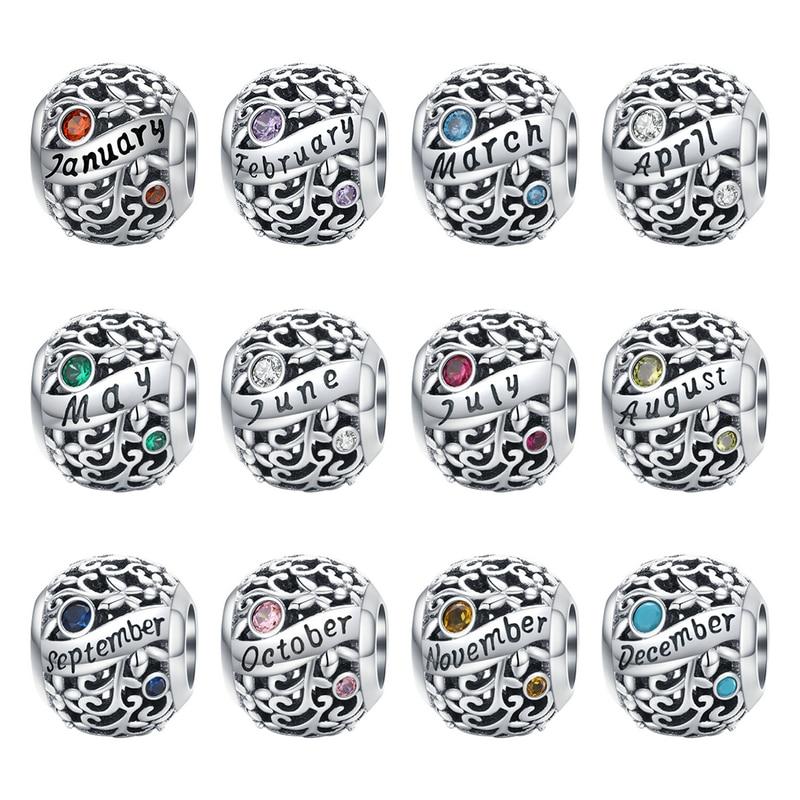 Bamoer 925 пробы серебро месяц день рождения Камень круглые бусинки подходит Для женщин Шарм браслет DIY ювелирных изделий SCC1385
