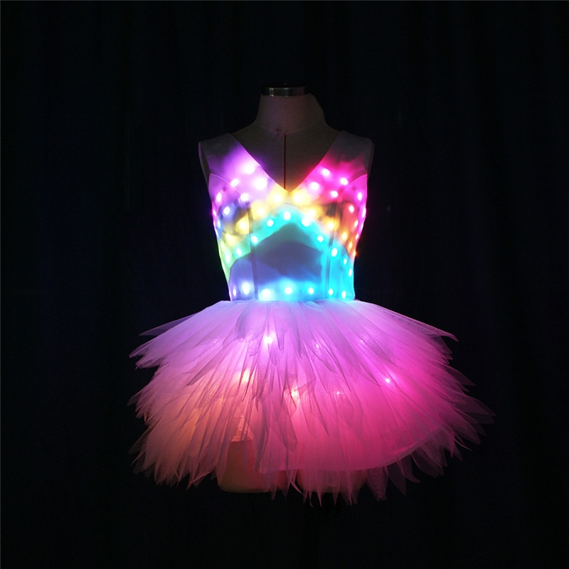 DMX512 Programmable stage dance led costumes RGB colorful rave ballet skirt evenging luminous light