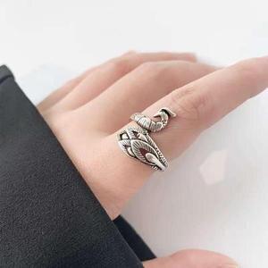 Открытое кольцо с павлином, женское серебряное ювелирное изделие ручной работы в стиле тайского ретро