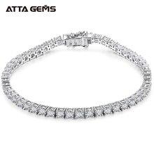 ATTAGEMS Solid 925 Sterling Silver Moissanite Tennis Bracelets for Women Round 2.5mm Charm Bracelet