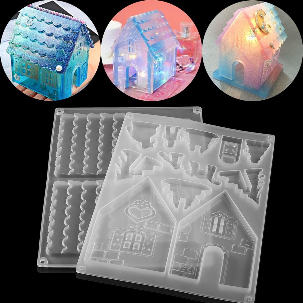 1 conjunto limpar casa de natal moldes de resina epóxi árvore de natal para diy resina cola epoxy fundição molde de silicone jóias artesanato fazendo