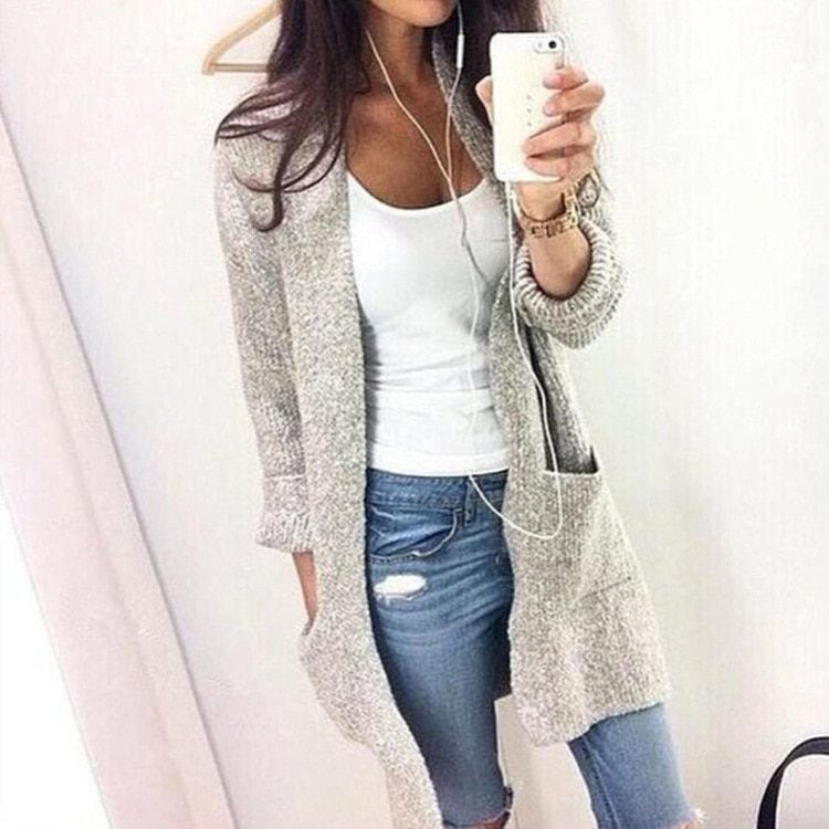 Lugentolo suéter de mujer Otoño e Invierno nueva moda Casual Cardigan manga larga Bolsillo grande tejido Color sólido suéter