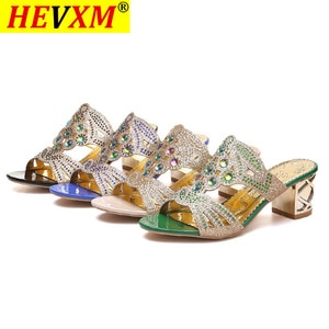 2020 Glitter Mesh Women Sandals Summer Fashion Peep Toe Casual Slippers Thick Heel Women Shoes Slip On Big Size 35-41