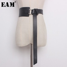 [EAM] 2021 Summer Spring New Fashion Casuai Solid Five Colors Belt Woman Wide Waistband Long 128cm Soft Leather Trendy AA213