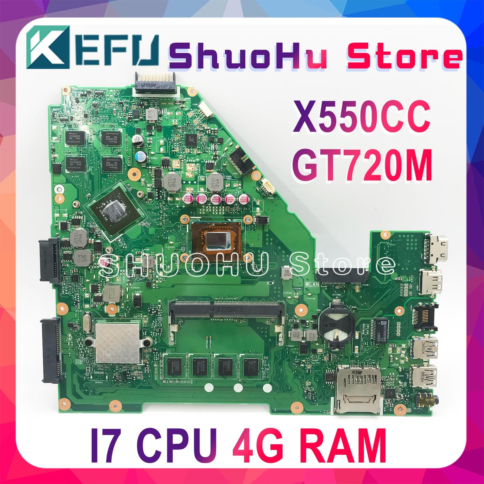 KEFU X550CC para ASUS X550CA R510C Y581C X550C X550CL placa base para ordenador portátil I7 CPU 4G probado 100% trabajo placa principal original