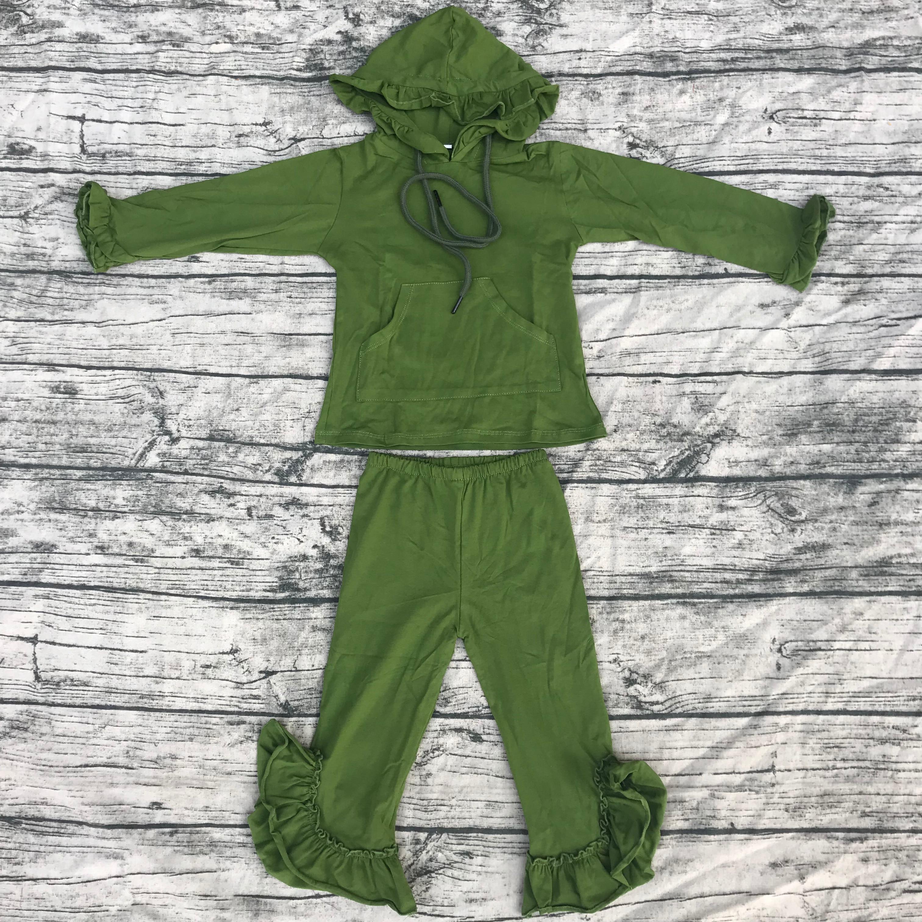 بدلة شتوية قطنية للفتيات, أحدث ملابس شتوية للأطفال مع كشكش وجيب برباط لون أخضر