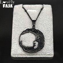 Gothique lune visage acier inoxydable colliers femmes/hommes noir chaîne collier bijoux cadeau acero inoxydable joyeria mujer N3043S03