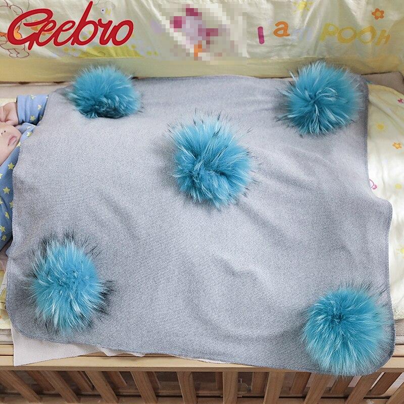 Geebro Lovely Newborn Kids Baby Warm Cotton Swaddling Blanket Sleeping Blanket with Real Fur Pompom Bedding Infant Travel Wrap