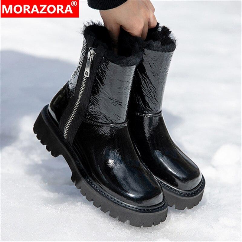 MORAZORA-أحذية جلدية أصلية عالية الجودة للنساء ، أحذية طويلة بكعب متوسط ، مقدمة مربعة ، للثلج ، اللون أسود