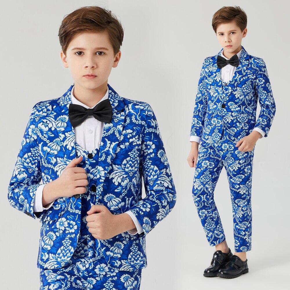 بدلات أطفال للأولاد ، فستان رسمي لحفلات الزفاف ، بدلات للأولاد ، سترة ، بنطلون على الطراز البريطاني ، طباعة الأزهار ، بدلة زرقاء للأولاد