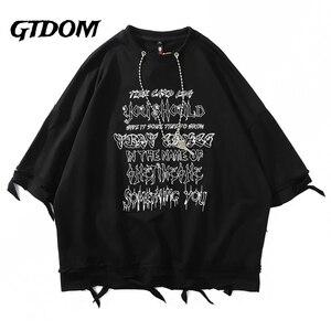 GTDOM Men Summer Hip Hop Oversize T-Shirts Half Sleeve O-neck Cotton Clothes 2021 Harajuku Print Letter Patchwork Hole T-shirts