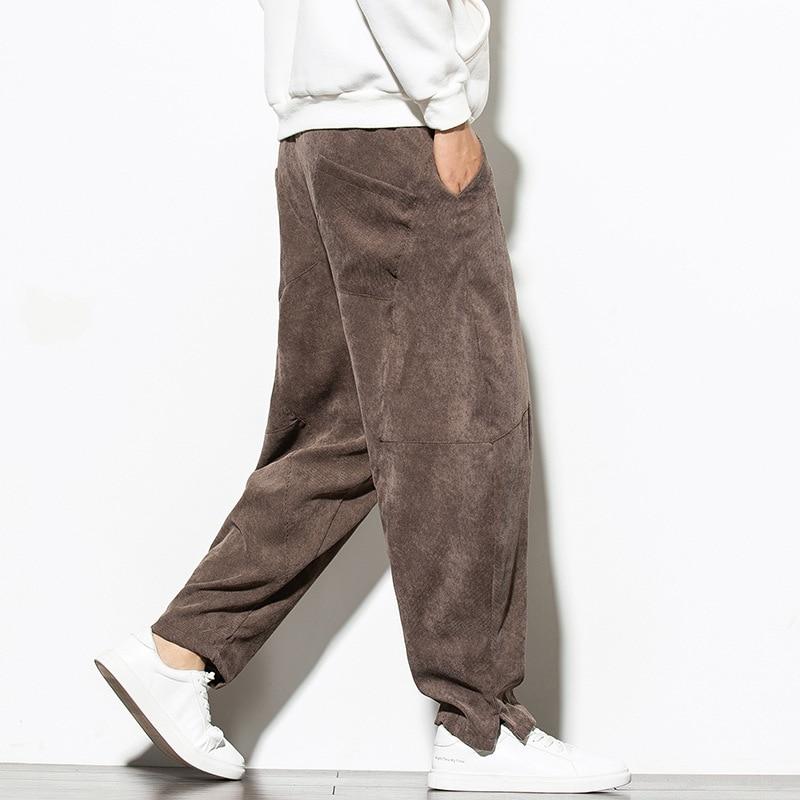 ICPANS Corduroy  Wide Leg Pant Mens Harem Pants Elastic Waist Loose Casual Trousers Plus size M-XXXL 4XL 5XL
