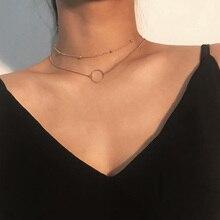 Gold Farbe Halsband Halskette Frauen Layered Anhänger Halskette Kette Chocker Neck Ketten Mode igirl Freunde Jewerly