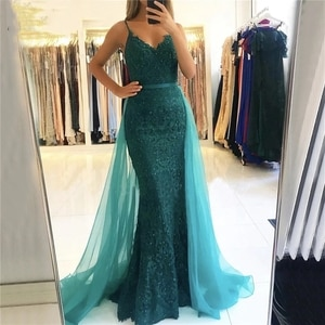 Mermaid Evening Dress with Overskirt Beaded Lace Spaghetti Straps 2022 Fashion Floor Length Prom Party Gowns Formal Occasion