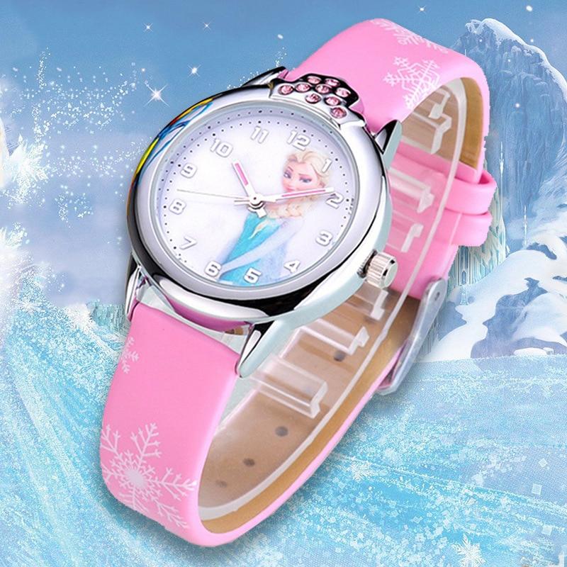 AliExpress - Disney Frozen Princess Pattern Children Watch Fashion Crystal Cartoon Leather Quartz Wristwatch for Girls Kids Toy Gift