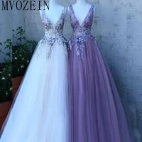 elegant long prom dress 2019 deep v neck lace appliques tulle floor length prom party dresses vestido de festa longo
