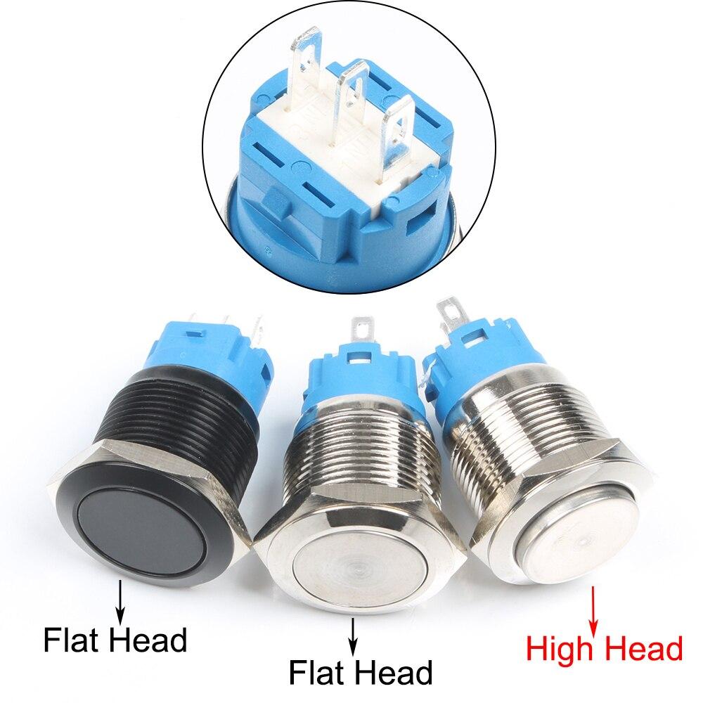 Новый тип 19 мм водонепроницаемый мгновенный/защелкивающийся металлический кнопочный переключатель из нержавеющей стали без светодиодный ...