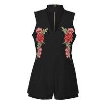 Summer Sexy Embroidery V Neck Sleeveless Women Short Pants White Black Jl-ly0331