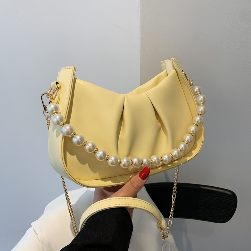Fashion Casual Solid Color Leather Chain Shoulder Bags for Women 2021 New Beads Pleated Messenger Ba