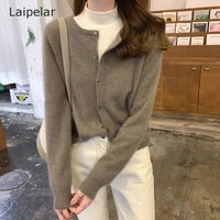 womens autumn and winter new sweater knitted cardigan womens short coat womens round neck loose tops ladies casual cardigans
