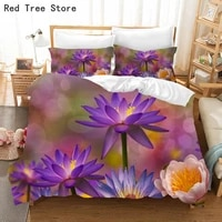 flowers and plants 3d bedding set luxury water lily print duvet cover queen king size quilt comforter bed linen 2 3 pcs textiles
