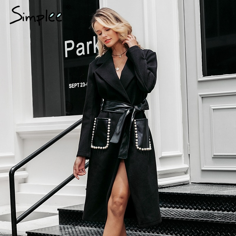 Simplee Fashion pearl pocket blend coat women Elegant sash belt slim warm long overcoats Autumn winter ladies black wool blends