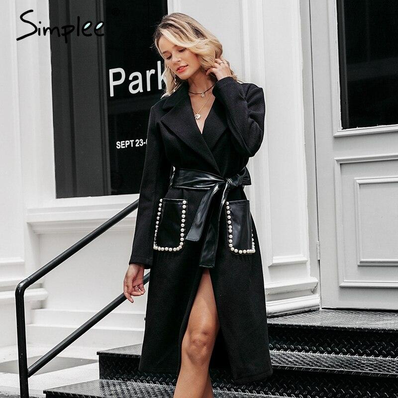 Simplee moda perla bolsillo mezcla abrigo mujer faja elegante cinturón Delgado cálido abrigos largos Otoño Invierno señoras negro lana mezclas