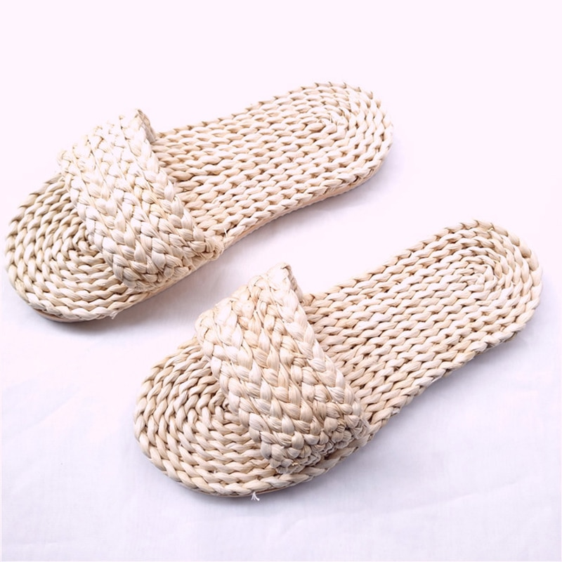 Keepsake  natura man  Straw Sandals unisex home shoes handmade men's straw slippers ummer Handwoven Seagrass Slippers for Women jarycorn shoes women s straw slippers new couple shoes handmade chinese style comfortable sandals2020 summer fashion unisex home