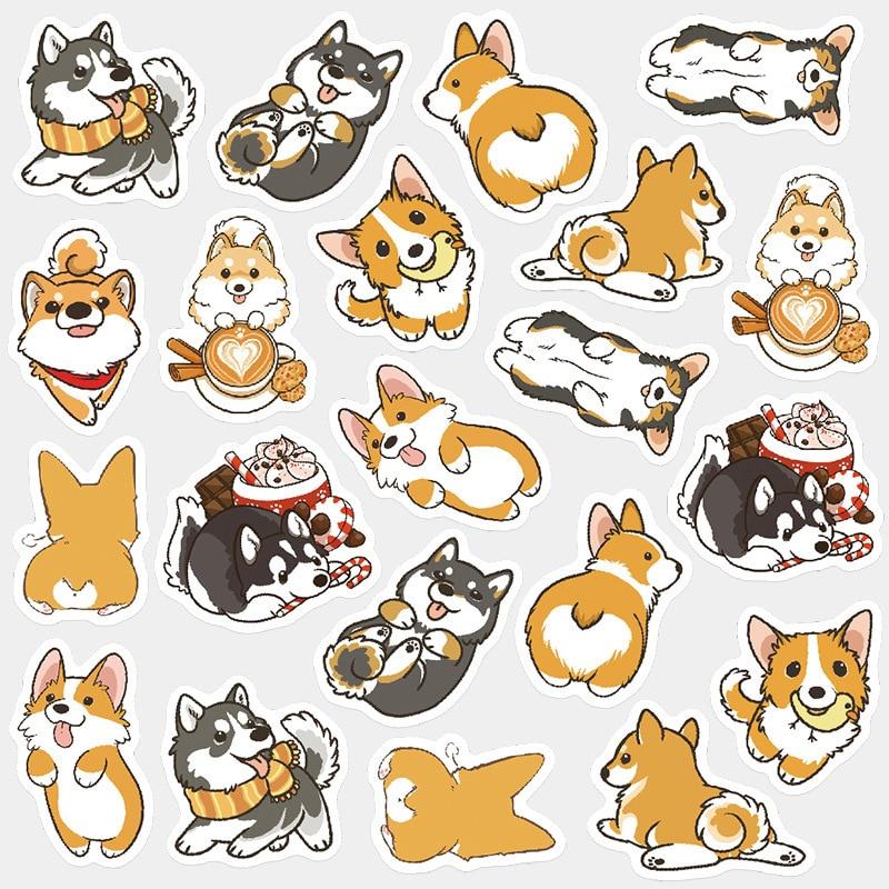 Lindo perro Corgi perro bala diario decorativa Washi pegatinas Scrapbooking palo etiqueta diario papelería álbum pegatinas