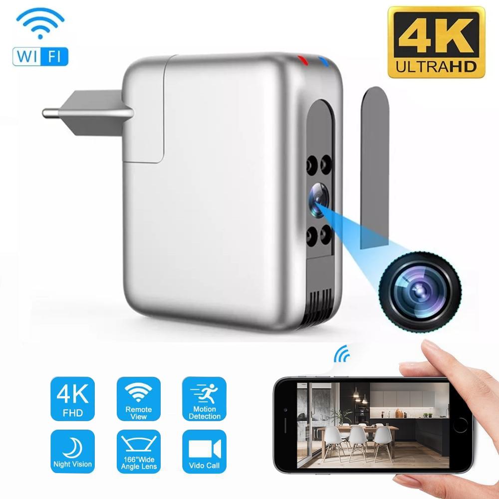 4K اللاسلكية واي فاي كاميرا صغيرة شاحن يو اس بي كاميرا دقيقة الأمن كام IP هوت سبوت للرؤية الليلية كشف الحركة مايكرو كاميرا صغيرة Espia