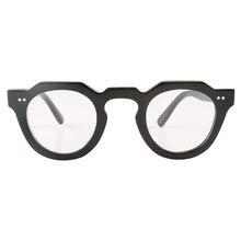 Японские прозрачные простые оптические очки ручной работы в ретро-стиле с черными рожками буйвола, круглая оправа, декорированные заклепка...