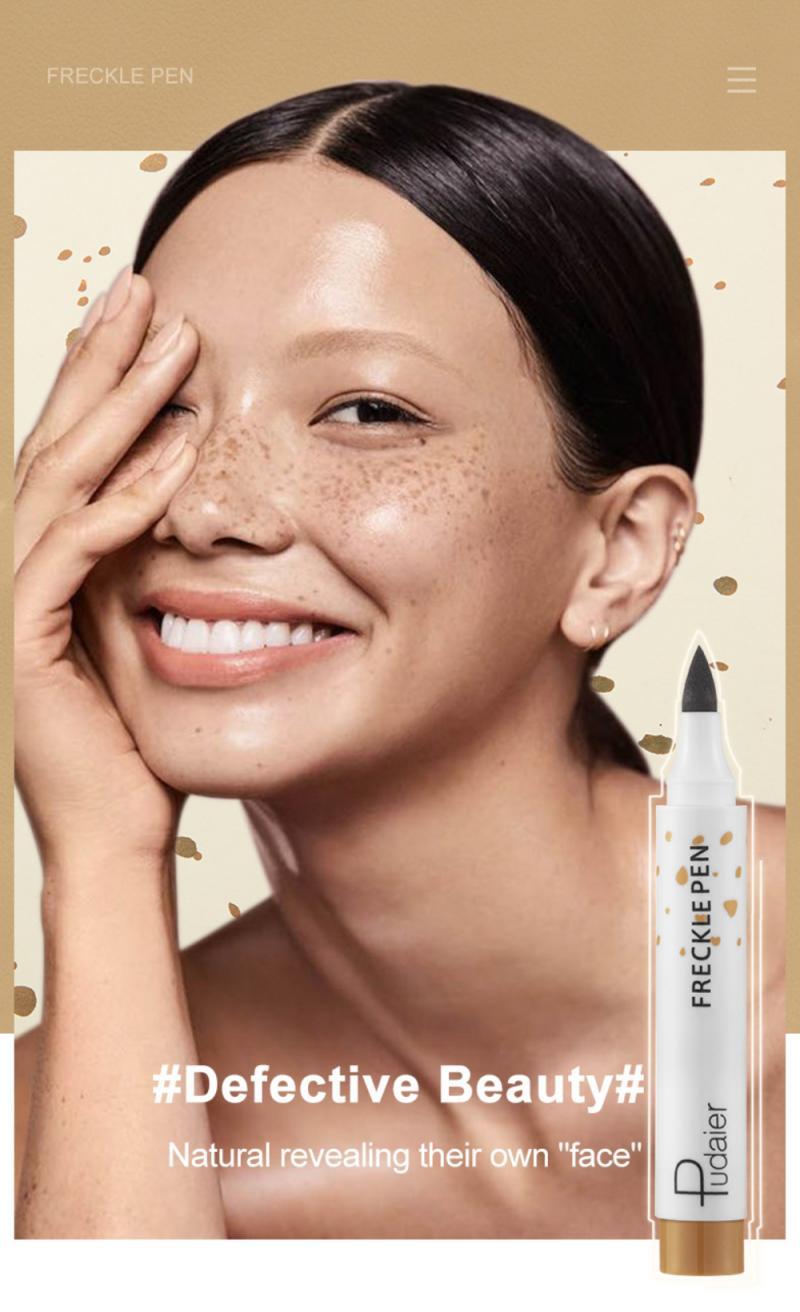 Pudaier Natural Freckle Pen Soft Brown Long Lasting Waterproof Dot Spot Pen Create Most Effortless S
