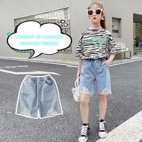 2021 new summer girls shorts pocket worn elastic solid and knees children pants fashion mother and daughter shorts girls clothes