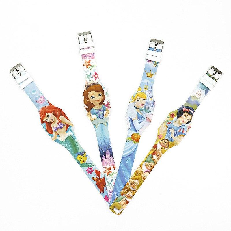 Reloj Disney de silicona Blanca Nieves con Led y dibujos animados, reloj electrónico de regalo para estudiantes con LED de silicona, reloj de juguete para niños
