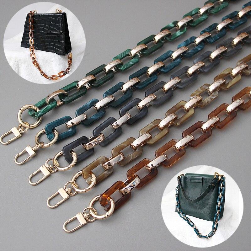 Baroque Vintage Acrylic Resin Chain Green Brown Leopard Metal Luxury Strap Women Shoulder Clutch Handle Hot