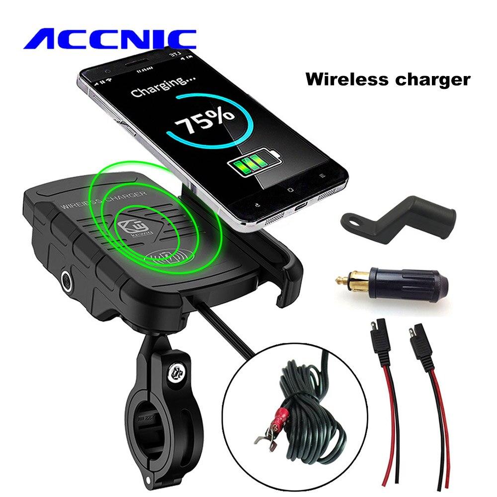 ACCNIC DIN/SAE zu USB Ladegerät & Motorrad Drahtlose Ladegerät Telefon Halter für samsung S10 S9 S8 iphone X XS 8 Drahtlose Lade