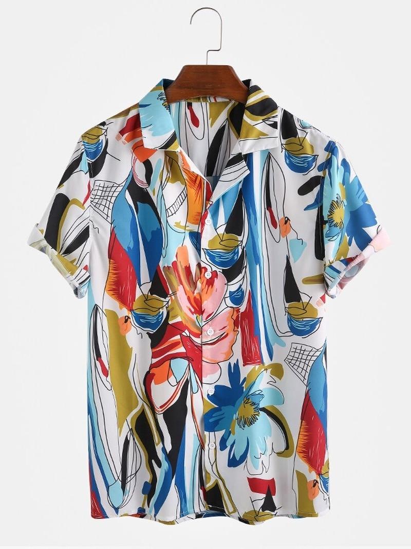 2020 летняя новая мужская одежда горячая распродажа мужская гавайская рубашка с коротким рукавом с цветочным рисунком Camisas Para Hombre